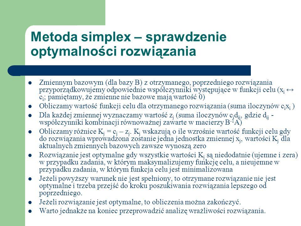 Metoda simplex – poprawa rozwiązania Zgodnie z interpretacją wartości K do nowego rozwiązania bazowego wprowadzamy zmienną o największej efektywności poprawy wartości funkcji celu (dla zadań z max.