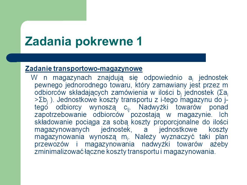 Zadania pokrewne 1 Zadanie transportowo-magazynowe W n magazynach znajdują się odpowiednio a i jednostek pewnego jednorodnego towaru, który zamawiany