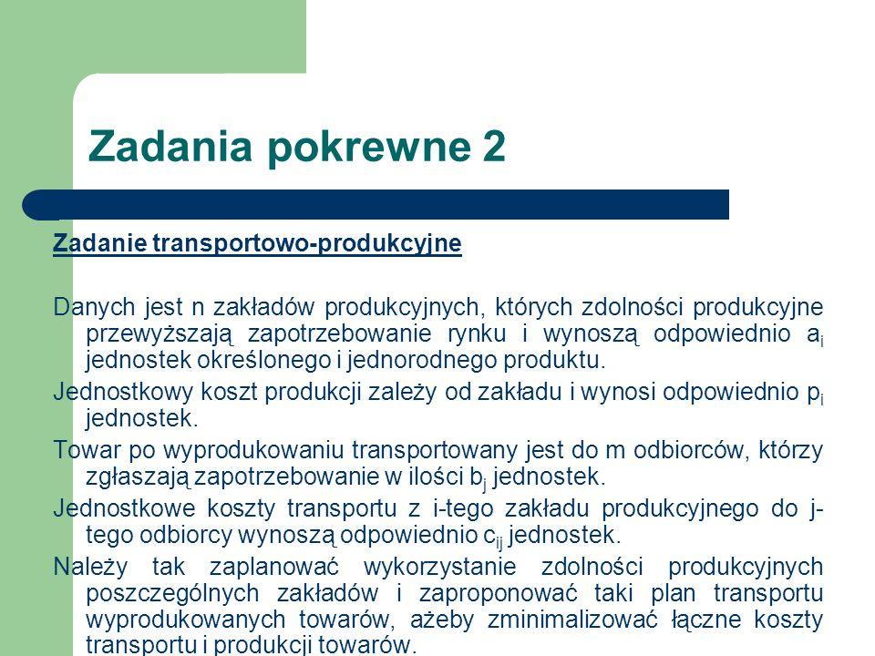 Zadania pokrewne 2 Zadanie transportowo-produkcyjne Danych jest n zakładów produkcyjnych, których zdolności produkcyjne przewyższają zapotrzebowanie r