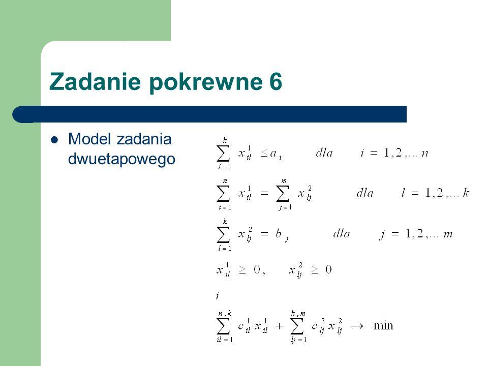 Zadanie pokrewne 6 Model zadania dwuetapowego
