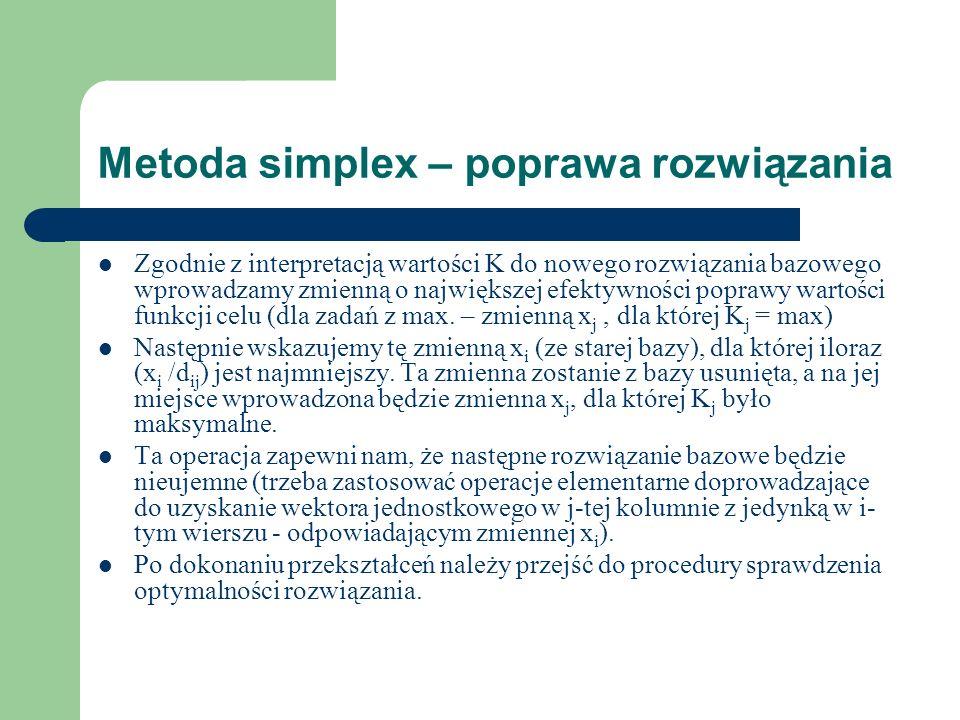 Metoda simplex – poprawa rozwiązania Zgodnie z interpretacją wartości K do nowego rozwiązania bazowego wprowadzamy zmienną o największej efektywności
