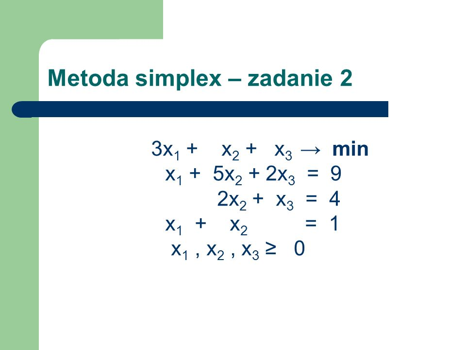 Metoda simplex – zadanie 2 3x 1 + x 2 + x 3 min x 1 + 5x 2 + 2x 3 = 9 2x 2 + x 3 = 4 x 1 + x 2 = 1 x 1, x 2, x 3 0