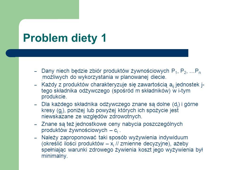 Problem diety 1 – Dany niech będzie zbiór produktów żywnościowych P 1, P 2, …P n, możliwych do wykorzystania w planowanej diecie. – Każdy z produktów