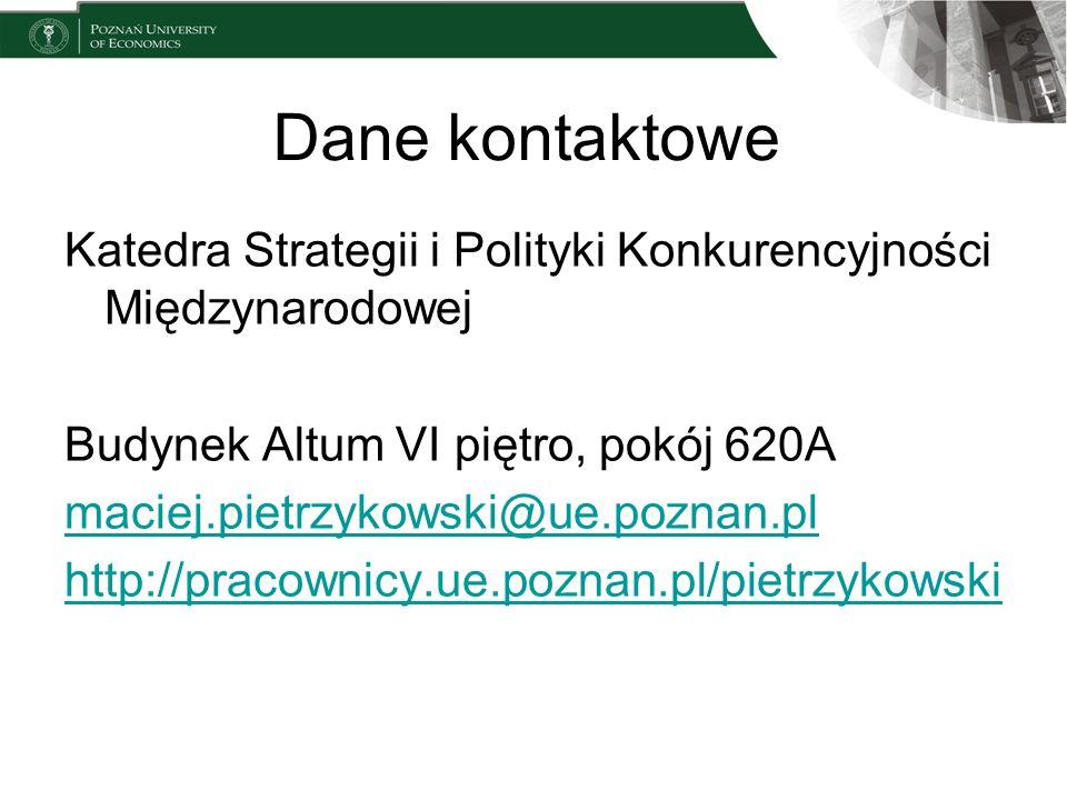 Dane kontaktowe Katedra Strategii i Polityki Konkurencyjności Międzynarodowej Budynek Altum VI piętro, pokój 620A maciej.pietrzykowski@ue.poznan.pl ht