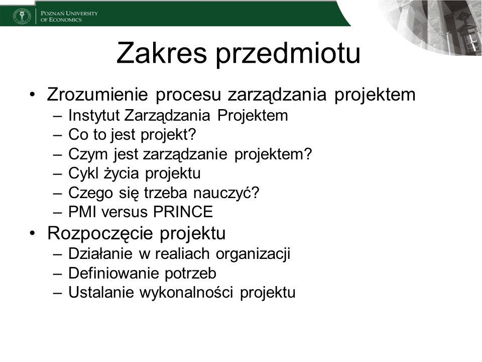 Zakres przedmiotu Zrozumienie procesu zarządzania projektem –Instytut Zarządzania Projektem –Co to jest projekt? –Czym jest zarządzanie projektem? –Cy