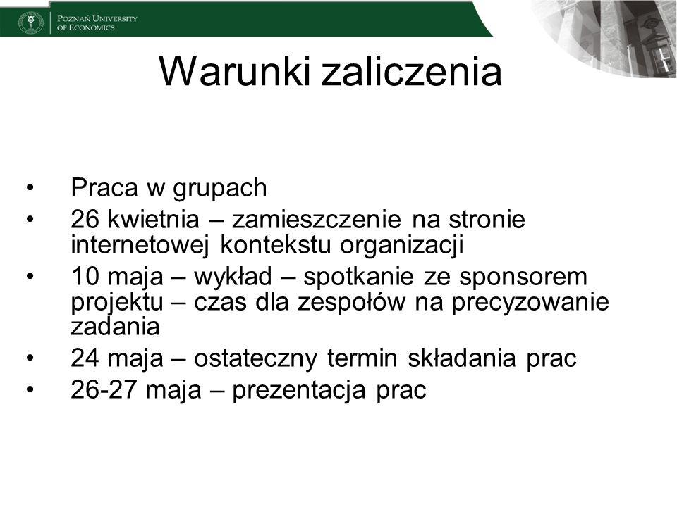 Warunki zaliczenia Praca w grupach 26 kwietnia – zamieszczenie na stronie internetowej kontekstu organizacji 10 maja – wykład – spotkanie ze sponsorem