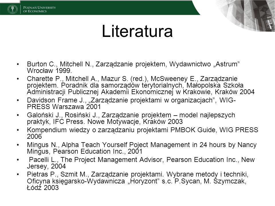 Literatura Burton C., Mitchell N., Zarządzanie projektem, Wydawnictwo Astrum Wrocław 1999. Charette P., Mitchell A., Mazur S. (red.), McSweeney E., Za