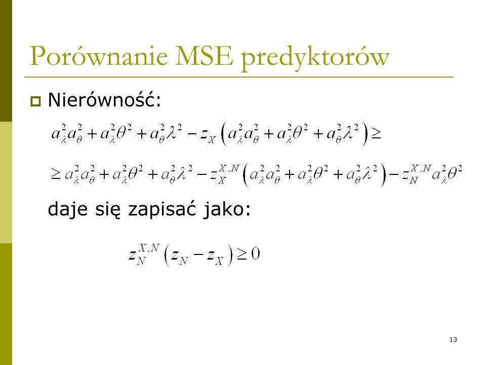 13 Porównanie MSE predyktorów Nierówność: daje się zapisać jako: