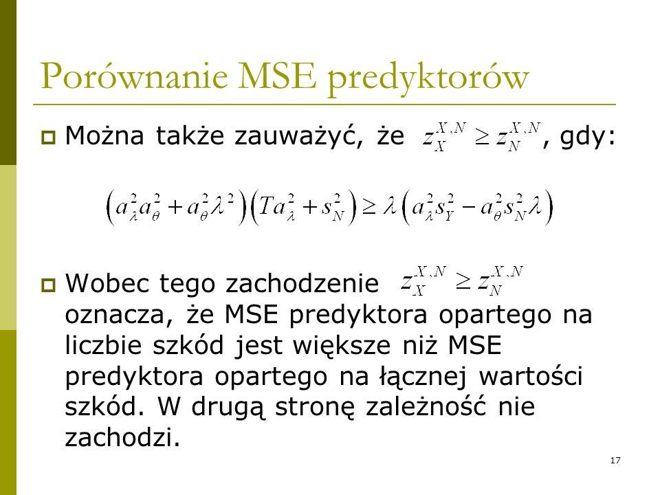 17 Porównanie MSE predyktorów Można także zauważyć, że, gdy: Wobec tego zachodzenie oznacza, że MSE predyktora opartego na liczbie szkód jest większe
