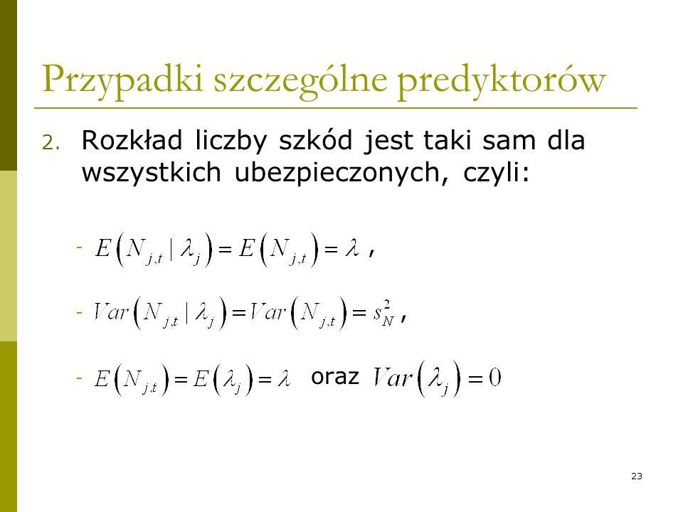 23 Przypadki szczególne predyktorów 2. Rozkład liczby szkód jest taki sam dla wszystkich ubezpieczonych, czyli: -, - oraz