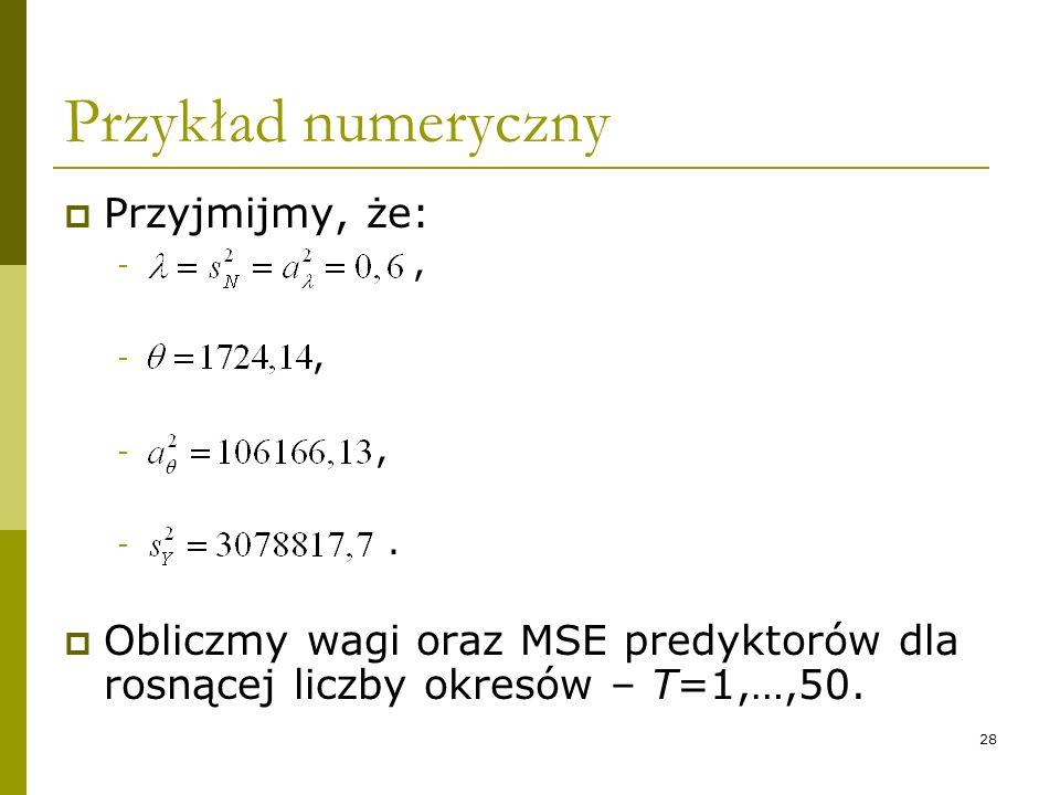 28 Przykład numeryczny Przyjmijmy, że: -, -. Obliczmy wagi oraz MSE predyktorów dla rosnącej liczby okresów – T=1,…,50.
