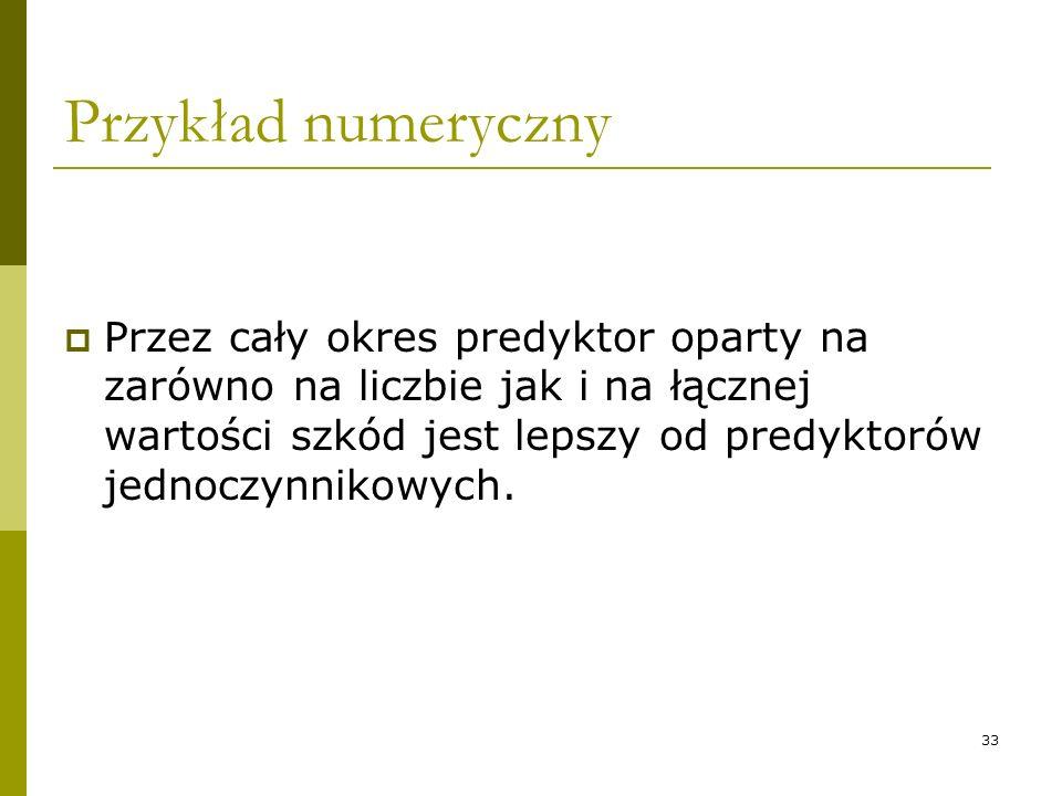33 Przykład numeryczny Przez cały okres predyktor oparty na zarówno na liczbie jak i na łącznej wartości szkód jest lepszy od predyktorów jednoczynnik