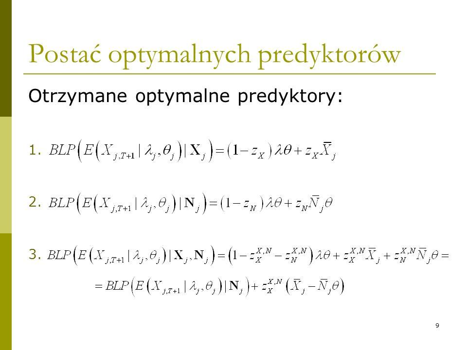 9 Postać optymalnych predyktorów Otrzymane optymalne predyktory: 1. 2. 3.