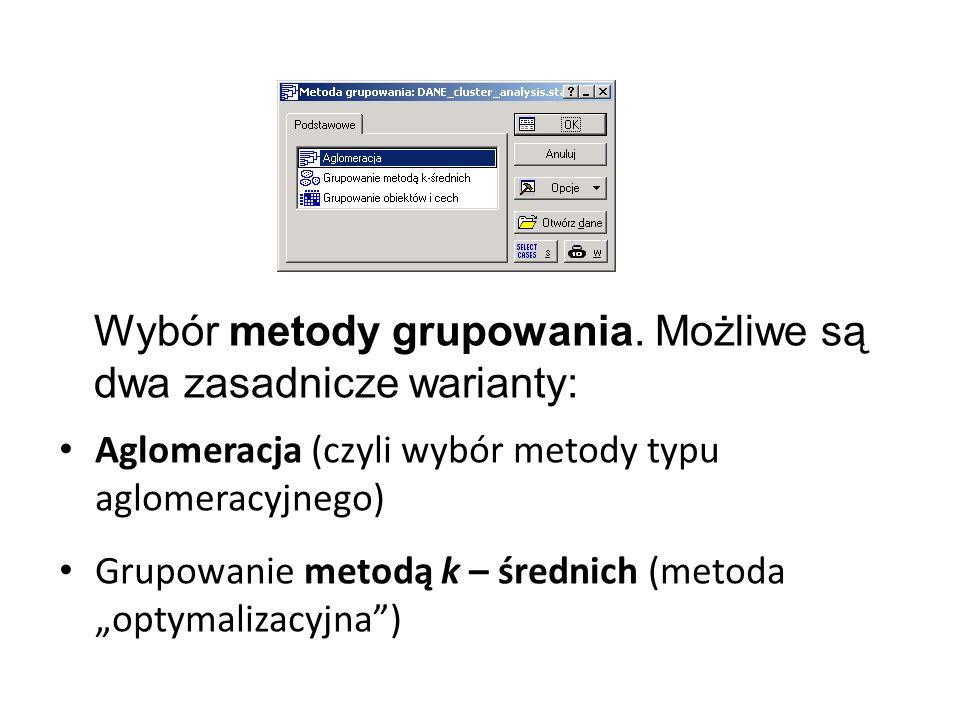 Wybór metody grupowania. Możliwe są dwa zasadnicze warianty: Grupowanie metodą k – średnich (metoda optymalizacyjna) Aglomeracja (czyli wybór metody t