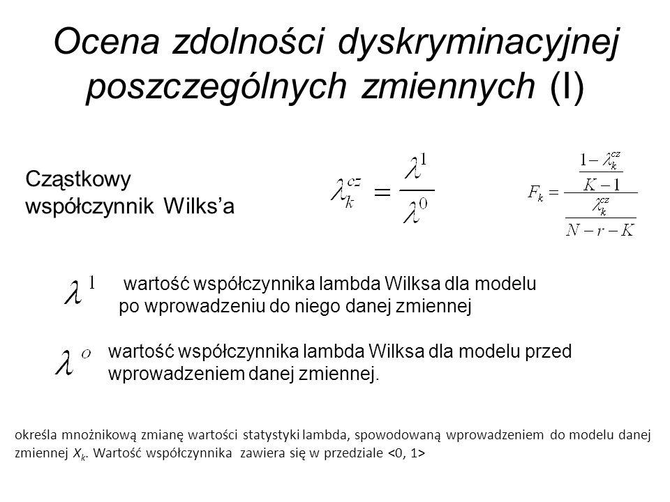 Ocena zdolności dyskryminacyjnej poszczególnych zmiennych (I) Cząstkowy współczynnik Wilksa wartość współczynnika lambda Wilksa dla modelu po wprowadz