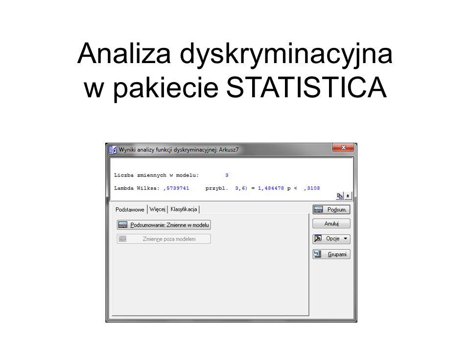 Analiza dyskryminacyjna w pakiecie STATISTICA