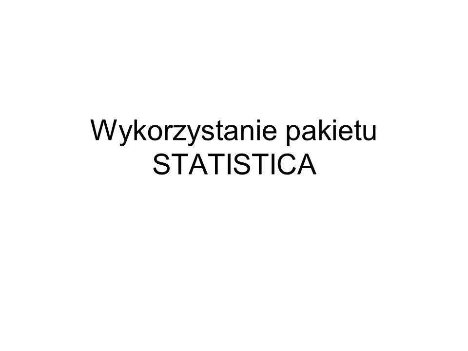 Wykorzystanie pakietu STATISTICA