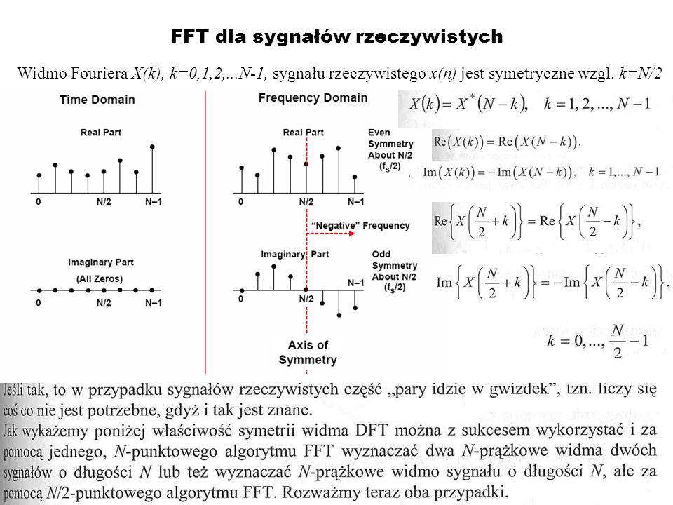 FFT dla sygnałów rzeczywistych Widmo Fouriera X(k), k=0,1,2,...N-1, sygnału rzeczywistego x(n) jest symetryczne wzgl. k=N/2