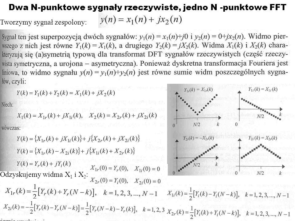 Dwa N-punktowe sygnały rzeczywiste, jedno N -punktowe FFT Tworzymy sygnał zespolony: Odzyskujemy widma X 1 i X 2 :