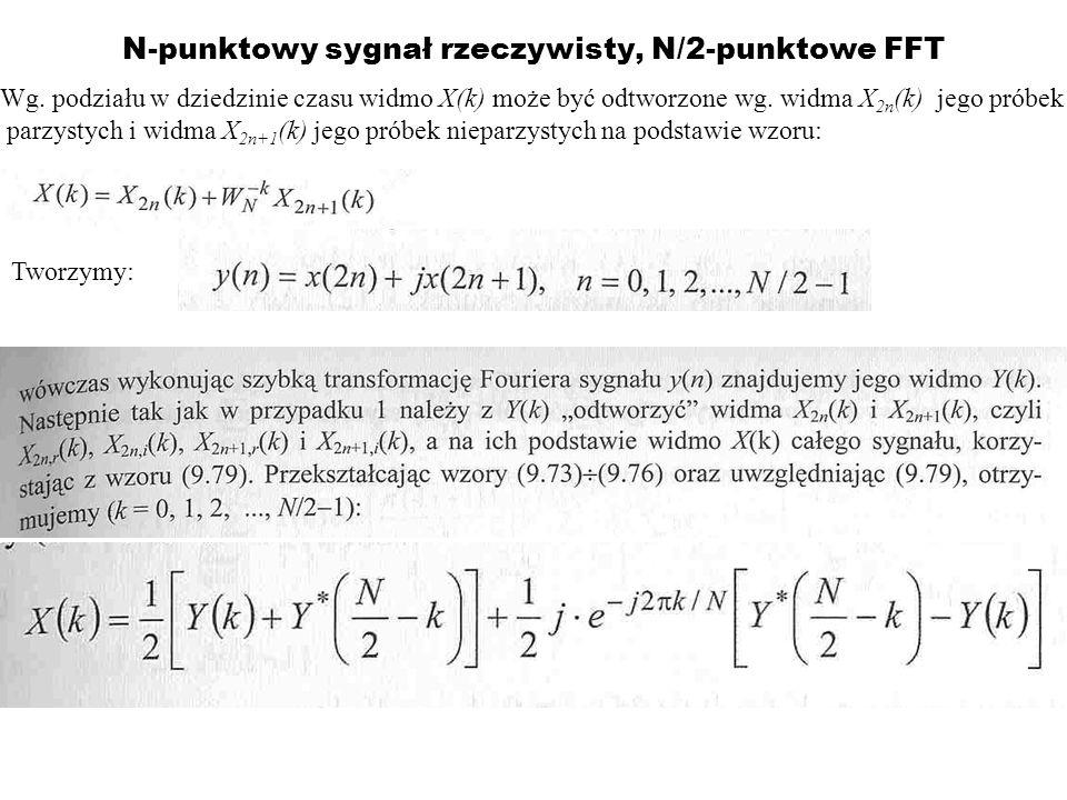 N-punktowy sygnał rzeczywisty, N/2-punktowe FFT Wg. podziału w dziedzinie czasu widmo X(k) może być odtworzone wg. widma X 2n (k) jego próbek parzysty