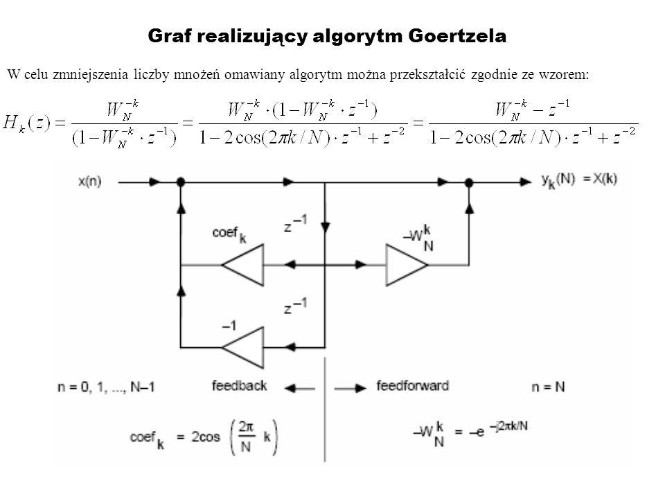Graf realizujący algorytm Goertzela W celu zmniejszenia liczby mnożeń omawiany algorytm można przekształcić zgodnie ze wzorem: