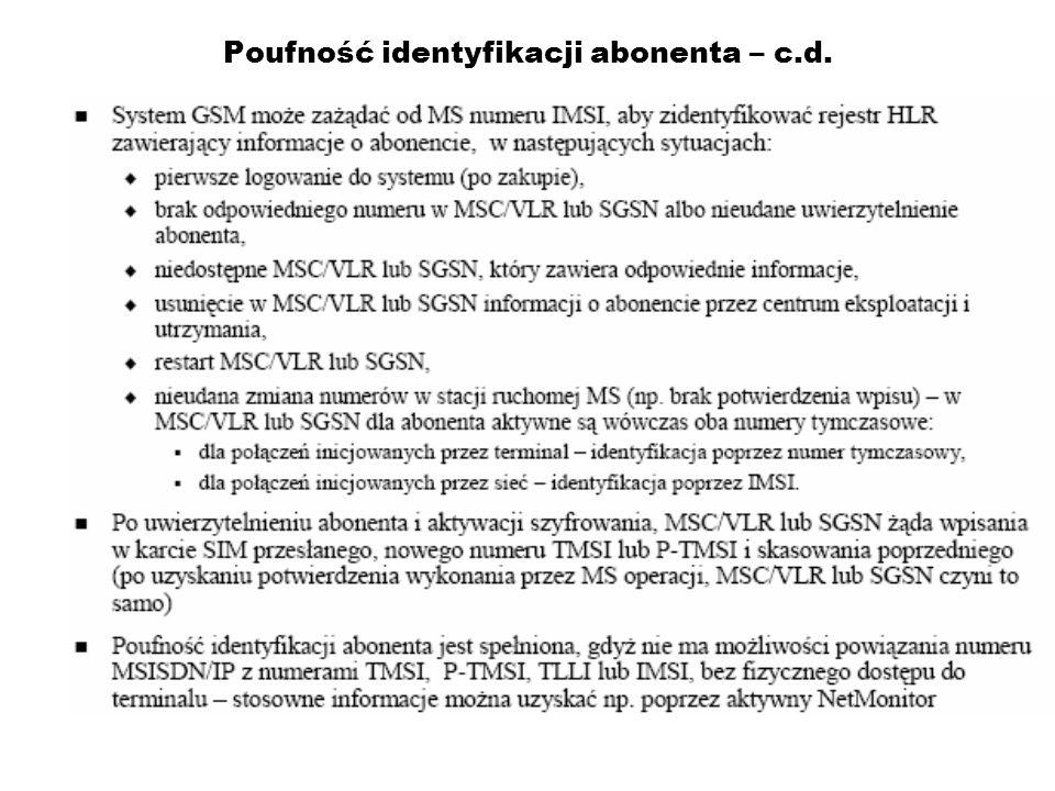 Poufność identyfikacji abonenta – c.d.