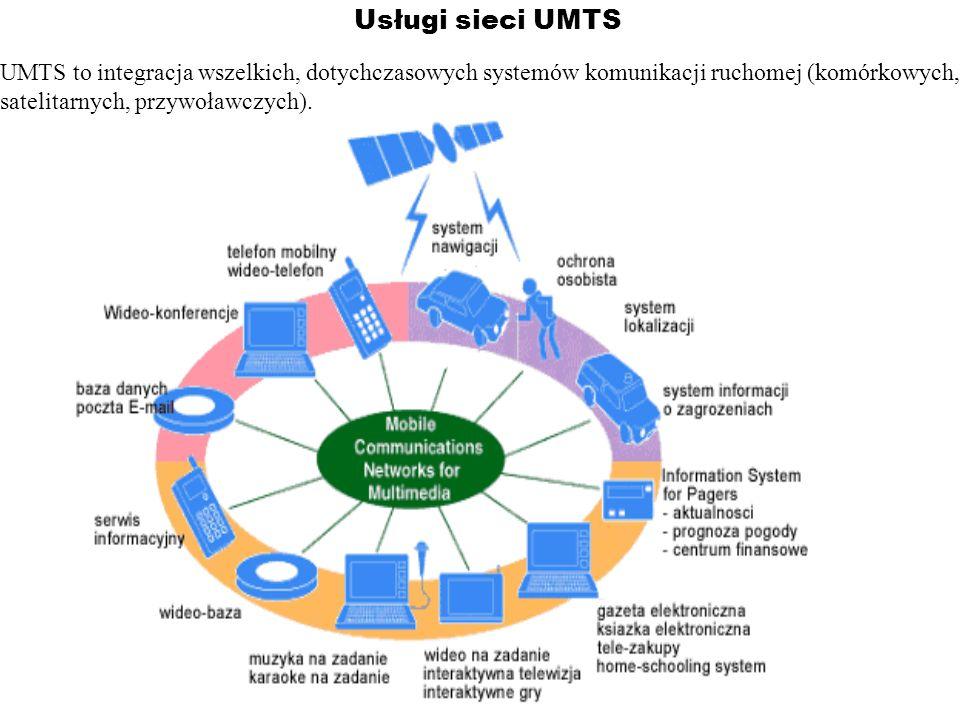 Usługi sieci UMTS UMTS to integracja wszelkich, dotychczasowych systemów komunikacji ruchomej (komórkowych, satelitarnych, przywoławczych).