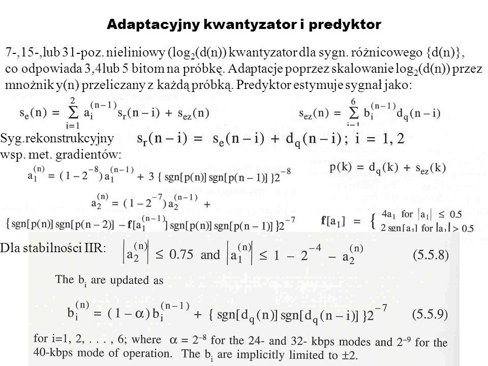 Adaptacyjny kwantyzator i predyktor 7-,15-,lub 31-poz. nieliniowy (log 2 (d(n)) kwantyzator dla sygn. różnicowego {d(n)}, co odpowiada 3,4lub 5 bitom