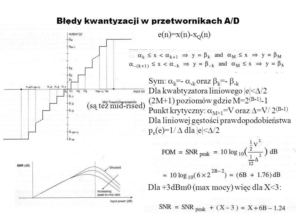 Błędy kwantyzacji w przetwornikach A/D (są też mid-rised) e(n)=x(n)-x Q (n) Sym: k =- -k oraz k =- -k Dla kwabtyzatora liniowego |e|< /2 (2M+1) poziom