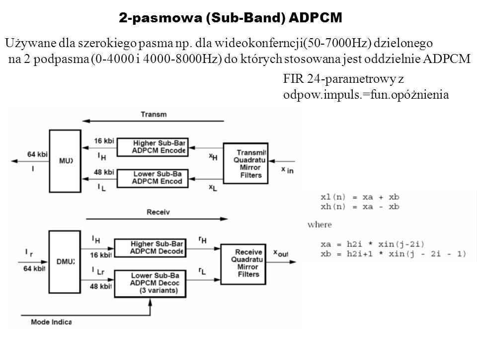 2-pasmowa (Sub-Band) ADPCM Używane dla szerokiego pasma np. dla wideokonferncji(50-7000Hz) dzielonego na 2 podpasma (0-4000 i 4000-8000Hz) do których