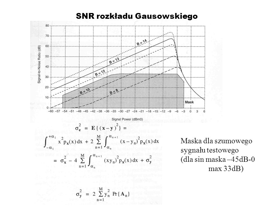 Kodowanie adaptacyjne Ponieważ mowa jest krótkoterminowo (100ms) prawie stacjonarna r xx (1) jest dobrze Zdefiniowany dlatego współczynnik a dobrze śledzi za zmianami statystyki sygnału i może być okeślony z min.