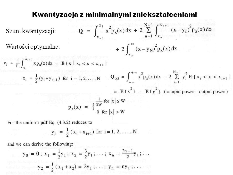 Kwantyzacja z minimalnymi zniekształceniami Szum kwantyzacji: Wartości optymalne: