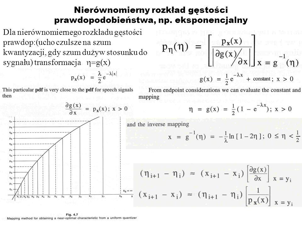 Nierównomierny rozkład gęstości prawdopodobieństwa, np. eksponencjalny Dla nierównomiernego rozkładu gęstości prawdop:(ucho czulsze na szum kwantyzacj