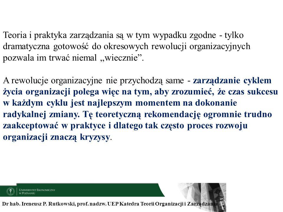 Dr hab. Ireneusz P. Rutkowski, prof. nadzw. UEP Katedra Teorii Organizacji i Zarządzania Teoria i praktyka zarządzania są w tym wypadku zgodne - tylko