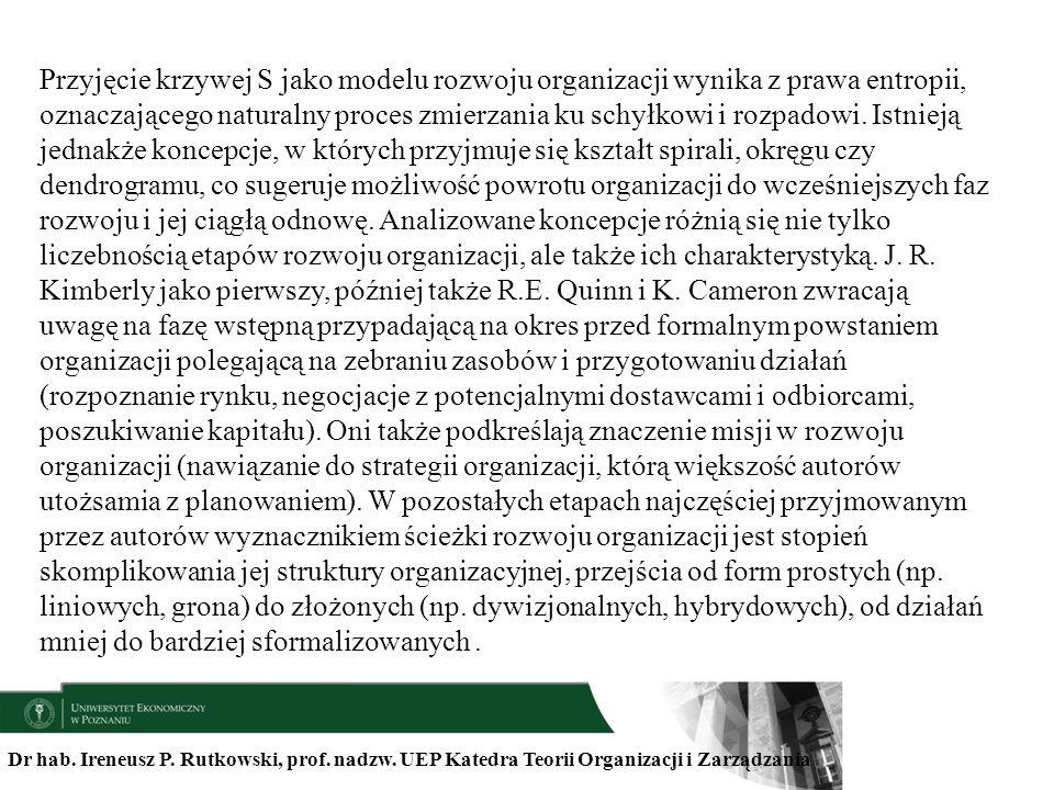 Dr hab. Ireneusz P. Rutkowski, prof. nadzw. UEP Katedra Teorii Organizacji i Zarządzania Przyjęcie krzywej S jako modelu rozwoju organizacji wynika z