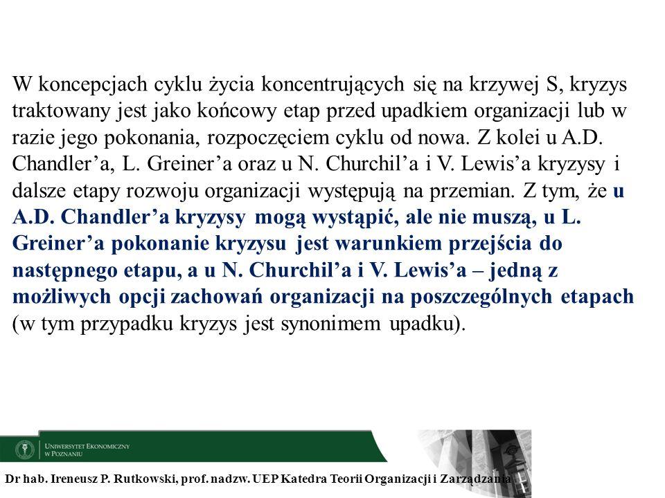 Dr hab. Ireneusz P. Rutkowski, prof. nadzw. UEP Katedra Teorii Organizacji i Zarządzania W koncepcjach cyklu życia koncentrujących się na krzywej S, k