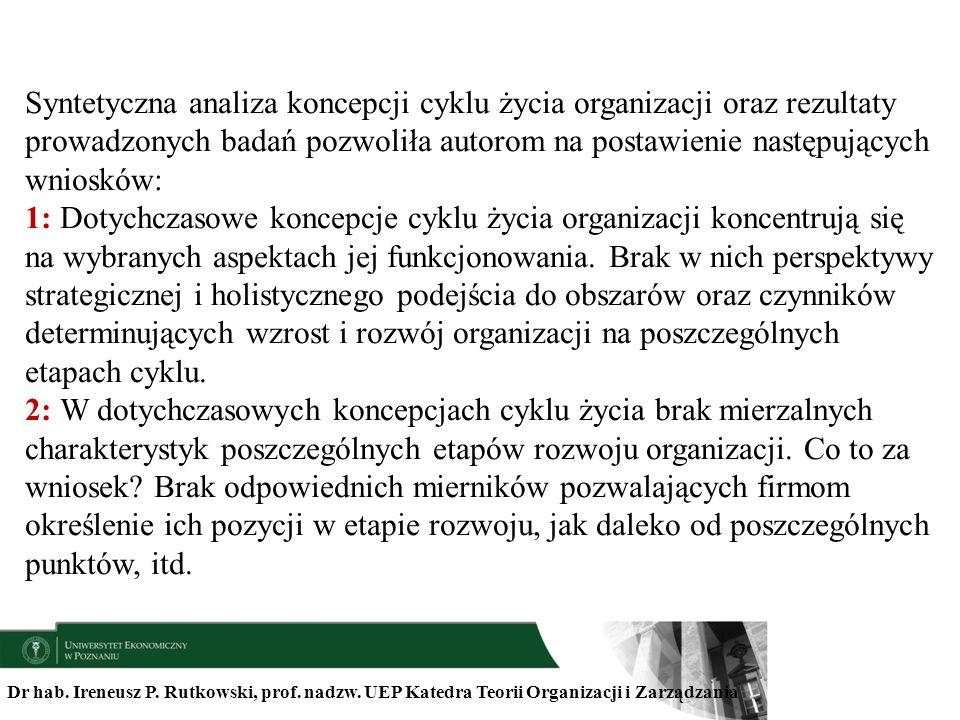 Dr hab. Ireneusz P. Rutkowski, prof. nadzw. UEP Katedra Teorii Organizacji i Zarządzania Syntetyczna analiza koncepcji cyklu życia organizacji oraz re