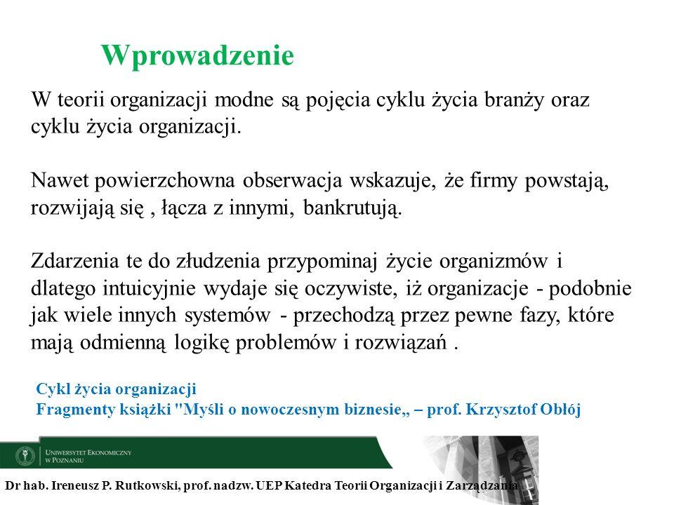 Dr hab. Ireneusz P. Rutkowski, prof. nadzw. UEP Katedra Teorii Organizacji i Zarządzania W teorii organizacji modne są pojęcia cyklu życia branży oraz