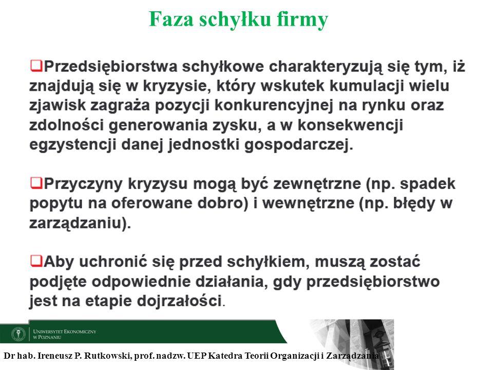 Dr hab. Ireneusz P. Rutkowski, prof. nadzw. UEP Katedra Teorii Organizacji i Zarządzania Faza schyłku firmy