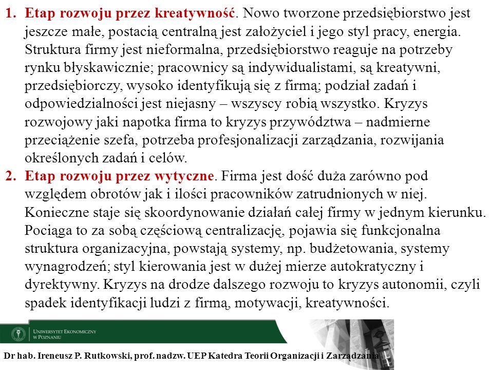 Dr hab. Ireneusz P. Rutkowski, prof. nadzw. UEP Katedra Teorii Organizacji i Zarządzania 1.Etap rozwoju przez kreatywność. Nowo tworzone przedsiębiors