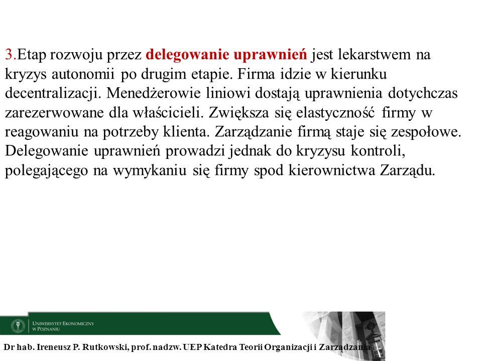 Dr hab. Ireneusz P. Rutkowski, prof. nadzw. UEP Katedra Teorii Organizacji i Zarządzania 3.Etap rozwoju przez delegowanie uprawnień jest lekarstwem na