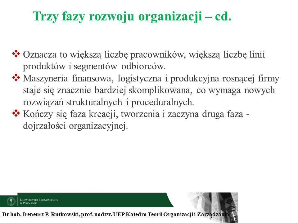 Dr hab. Ireneusz P. Rutkowski, prof. nadzw. UEP Katedra Teorii Organizacji i Zarządzania Oznacza to większą liczbę pracowników, większą liczbę linii p