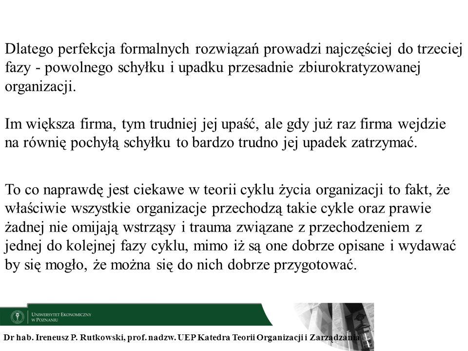 Dr hab. Ireneusz P. Rutkowski, prof. nadzw. UEP Katedra Teorii Organizacji i Zarządzania Dlatego perfekcja formalnych rozwiązań prowadzi najczęściej d
