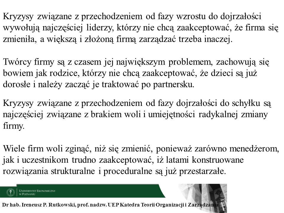 Dr hab. Ireneusz P. Rutkowski, prof. nadzw. UEP Katedra Teorii Organizacji i Zarządzania Kryzysy związane z przechodzeniem od fazy wzrostu do dojrzało