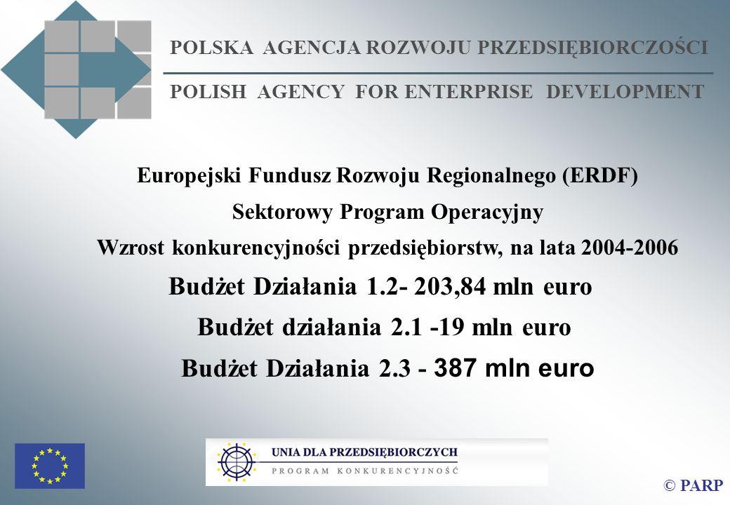 POLSKA AGENCJA ROZWOJU PRZEDSIĘBIORCZOŚCI POLISH AGENCY FOR ENTERPRISE DEVELOPMENT © PARP Europejski Fundusz Rozwoju Regionalnego (ERDF) Sektorowy Program Operacyjny Wzrost konkurencyjności przedsiębiorstw, na lata 2004-2006 Budżet Działania 1.2- 203,84 mln euro Budżet działania 2.1 -19 mln euro Budżet Działania 2.3 - 387 mln euro