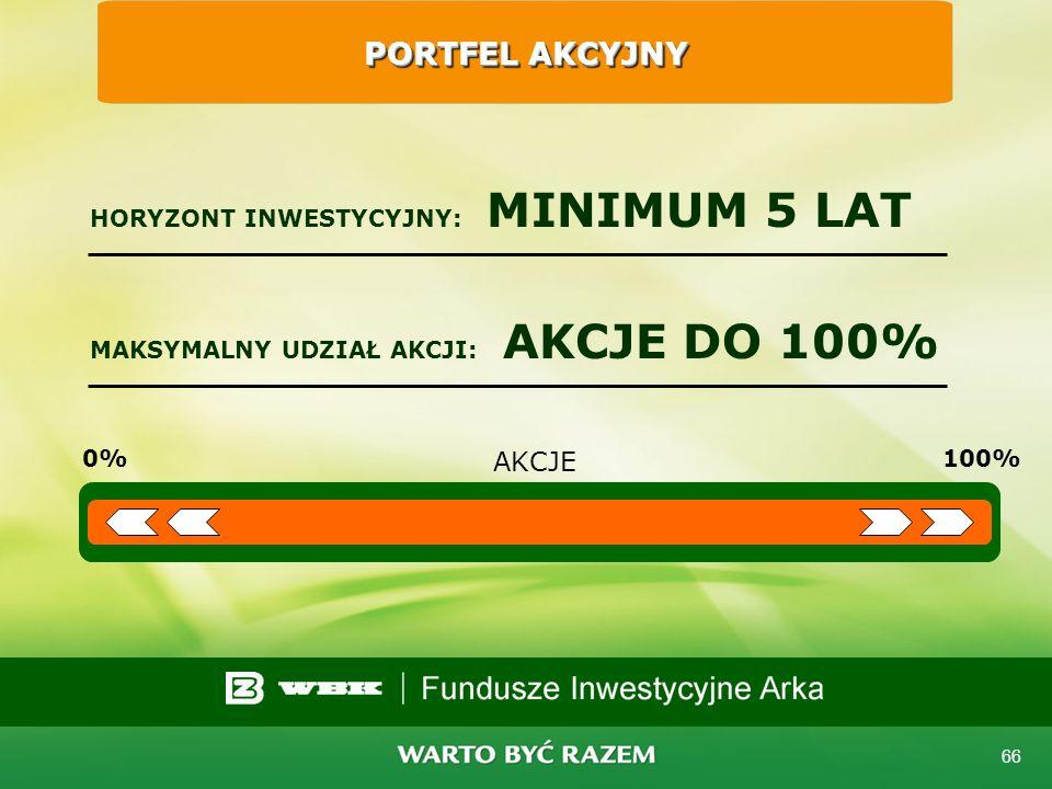 65 Podstawowe rodzaje portfeli indywidualnych Portfel Akcyjny Portfel Zrównoważony Portfel Stabilnego Wzrostu