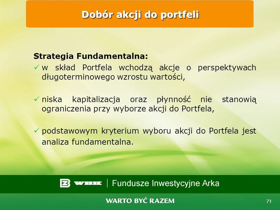 70 Strategia Rynkowa: w skład Portfela wchodzą przede wszystkim akcje dużych spółek (z istotnym udziałem w WIG), charakteryzujące się wysoką płynności