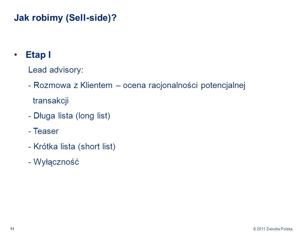 © 2011 Deloitte Polska Jak robimy (Sell-side)? 11 Etap I Lead advisory: - Rozmowa z Klientem – ocena racjonalności potencjalnej transakcji - Długa lis