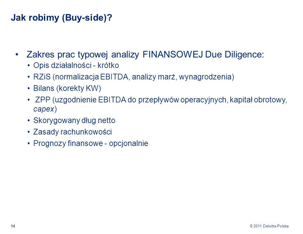 © 2011 Deloitte Polska Jak robimy (Buy-side)? Zakres prac typowej analizy FINANSOWEJ Due Diligence: Opis działalności - krótko RZiS (normalizacja EBIT