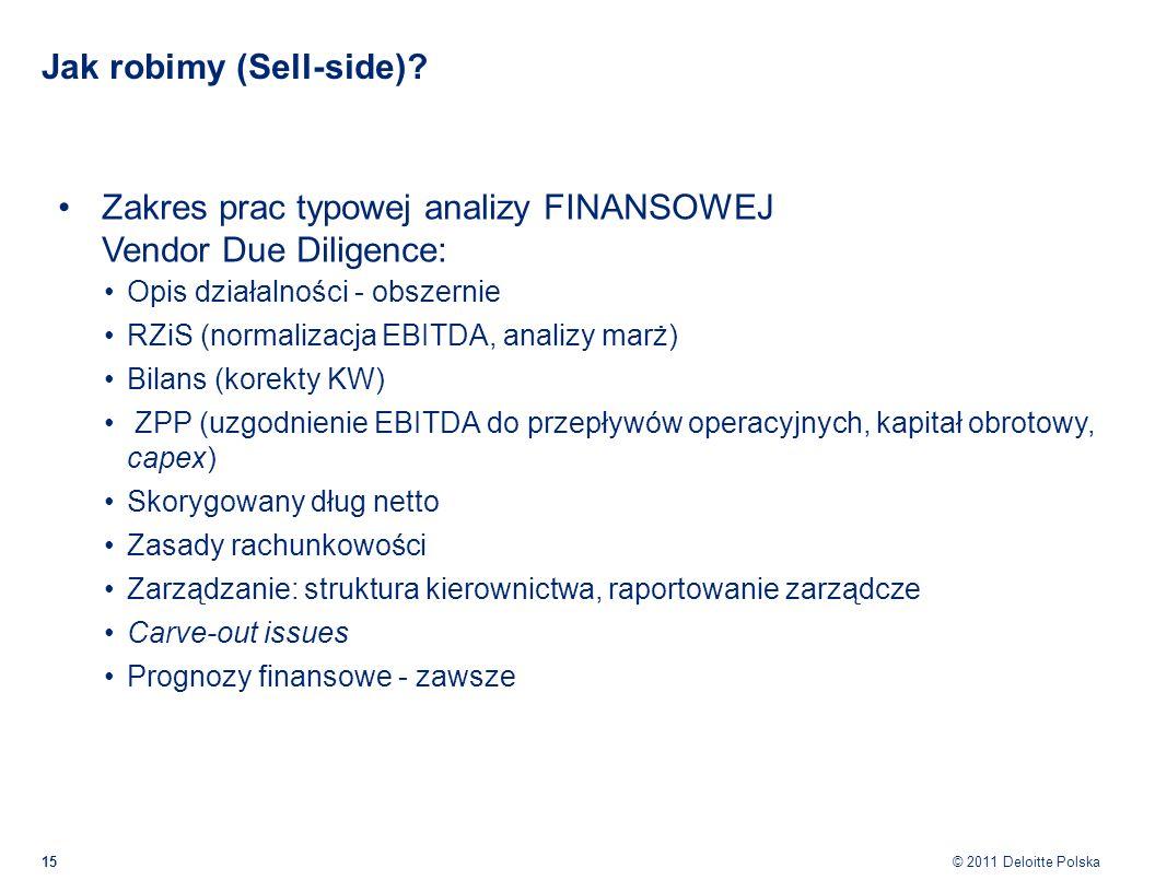 © 2011 Deloitte Polska Jak robimy (Sell-side)? Zakres prac typowej analizy FINANSOWEJ Vendor Due Diligence: Opis działalności - obszernie RZiS (normal